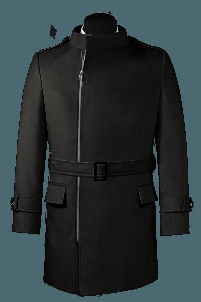 Cappotto doppiopetto con cintura nero