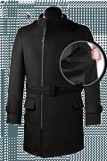 Schwarzer Zweireihiger Stehkragen Mantel-front_open