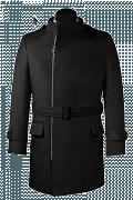 Schwarzer Zweireihiger Stehkragen Mantel-Ansicht Vorderseite