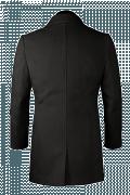 Schwarzer Zweireihiger Mantel-Ansicht Rückseite