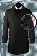 Schwarzer Zweireihiger Mantel-front_open