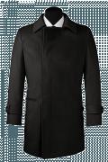 Schwarzer Zweireihiger Mantel-Ansicht Vorderseite