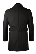 Black double breasted belted Coat-View Back