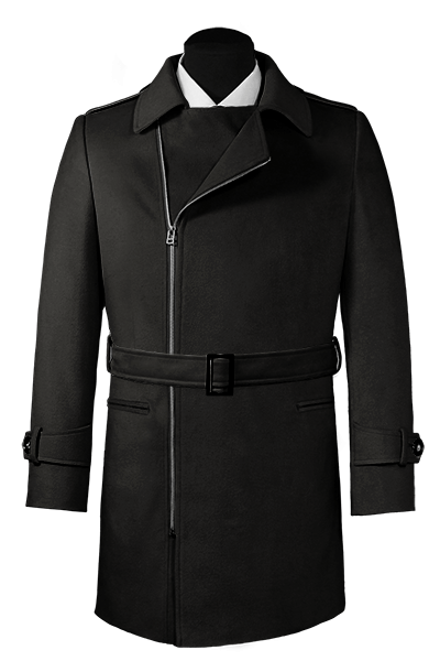 Black double breasted belted Coat