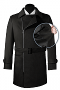 Black double breasted belted Coat-front_open