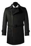 Black double breasted belted Coat-View Front