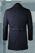 Blauer Zweireihiger Stehkragen Mantel-Ansicht Rückseite