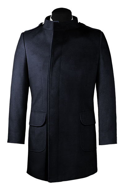 Blue double breasted stand up collar Coat
