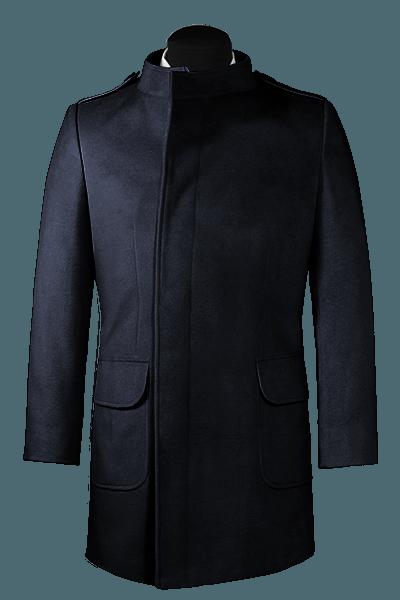 Blauer Zweireihiger Stehkragen Mantel