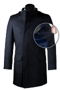 Blue double breasted stand up collar Coat-front_open