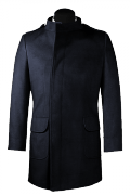 Blue double breasted stand up collar Coat-View Front