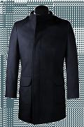 Blauer Zweireihiger Stehkragen Mantel-Ansicht Vorderseite