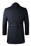 Blue double breasted stand up collar Coat-View Back