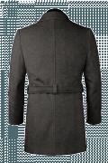 Cappotto doppiopetto con cintura grigio di lana-Vista Posteriore