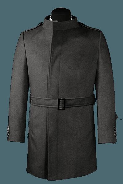 Grauer Zweireihiger Stehkragen Mantel aus Wolle