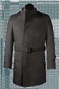 Cappotto doppiopetto con cintura grigio di lana-Vista Frontale