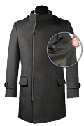 Grey double breasted stand up collar Wool Coat-front_open