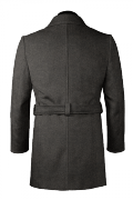 Manteau gris croisé avec ceinture en laine-Vue Dos