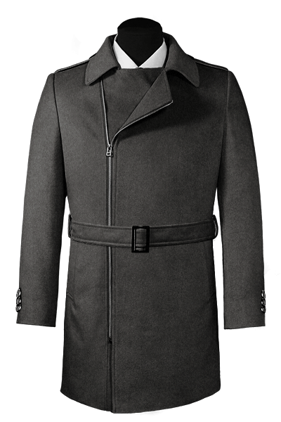 Grey double breasted belted Wool Coat
