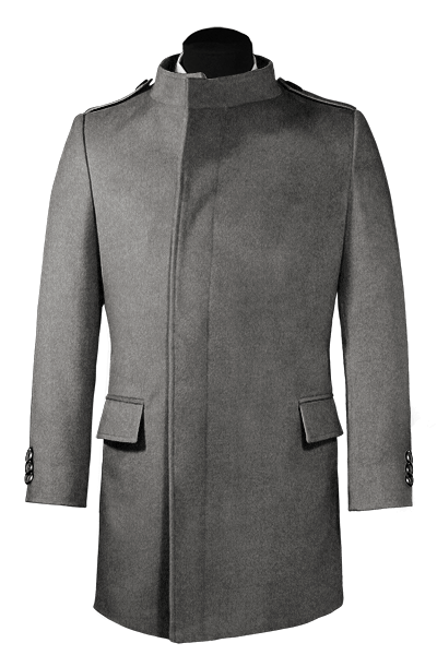 Grey double breasted stand up collar Wool Coat