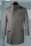 шерстяное двубортное пальто с воротником-стойкой-Вид спереди