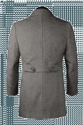 Grauer Zweireihiger Stehkragen Mantel aus Wolle-Ansicht Rückseite