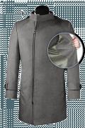 Grauer Zweireihiger Stehkragen Mantel aus Wolle-front_open