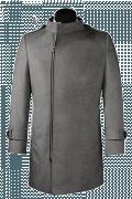 Manteau gris croisé avec col droit en laine-Vue Avant