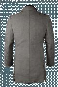 Grauer Zweireihiger Mantel aus Wolle-Ansicht Rückseite