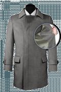 Grauer Zweireihiger Mantel aus Wolle-front_open