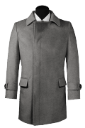 Grauer Zweireihiger Mantel aus Wolle-Ansicht Vorderseite