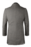 Grey double breasted Wool Coat-View Back