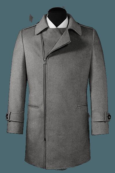 Grauer Zweireihiger Mantel aus Wolle