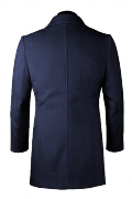 Blauer Zweireihiger Stehkragen Mantel aus Wolle-Ansicht Rückseite