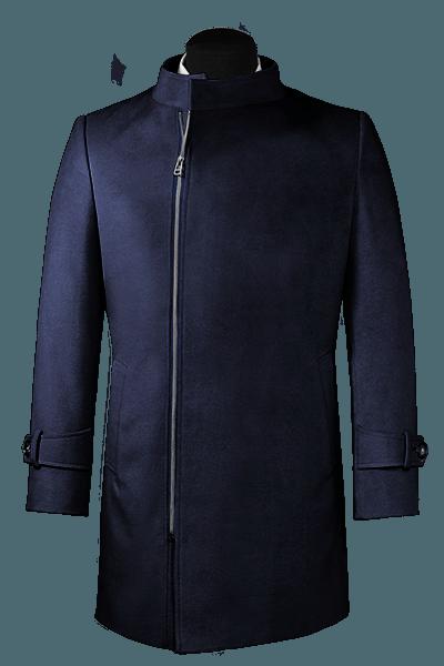 Blauer Zweireihiger Stehkragen Mantel aus Wolle