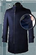 Blauer Zweireihiger Stehkragen Mantel aus Wolle-front_open