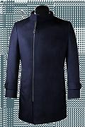 Blauer Zweireihiger Stehkragen Mantel aus Wolle-Ansicht Vorderseite