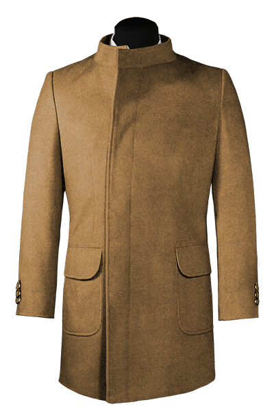 Beige double breasted stand up collar Wool Coat
