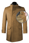 Beige double breasted stand up collar Wool Coat-front_open