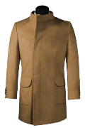 Beige double breasted stand up collar Wool Coat-View Front