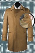 Beige Zweireihiger Mantel aus Wolle-front_open