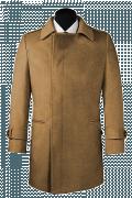 Beige Zweireihiger Mantel aus Wolle-Ansicht Vorderseite