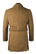 Beige double breasted belted Wool Coat-View Back