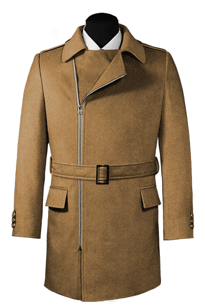 Beige double breasted belted Wool Coat