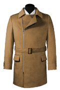 Beige double breasted belted Wool Coat-View Front