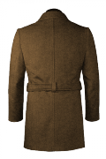 Brown double breasted belted Coat-View Back
