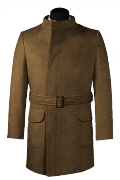 Brown double breasted belted Coat-View Front