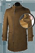 Cappotto doppiopetto a collo alto marrone-front_open