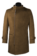 Brown double breasted stand up collar Coat-View Front