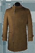 Cappotto doppiopetto a collo alto marrone-Vista Frontale